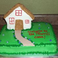 Housewarming Cake I made this for a friend's housewarming. the house is made of rkt. The little path is fondant.