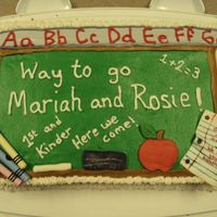 Chalkboard- Kinder/pre-K Graduation This is a cake I made for a family friend for her two daughters who just finished Prek and Kinder. I didn't want to do an actual...