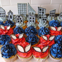 Caleb's Cupcakes bc, w/ fondant buildings and eyes