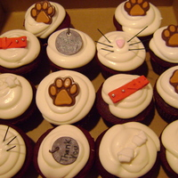 Allison's Cupcakes chocolate paws, mmf doggie treats and collars, dyed spaghetti whiskers