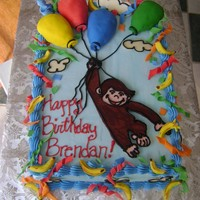 Curious George fbct,mmf decorations, bc cake, crispy rice balloons covered in mmf