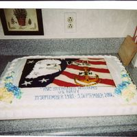 Navy Retirement Picture is hand-drawn, homemade buttercream icing was melted and colored to fill in picture. Eagle's feathers done with writing tip.