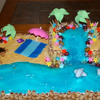My Neice's Beach Party Birthday Cake Made this for my niece's birthday, she loves the beach and sea turtles. All of the decorations are fondant or gumpaste except the...