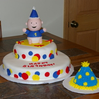 First Birthday This cake was for my nephew's first birthday. A 12 and an 8 round covered with fondant. The little boy is two, 2 1/2 round cake tier...