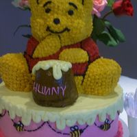 Winnie Cake Top This is the top of my first tiered cake. Use the stand up bear pan and added icing to the cheeks & nose so it looked more like Pooh.