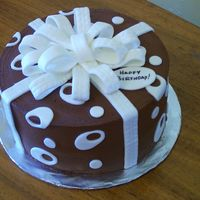 Chocolate Birthday Present Also made this one for a friend to take to work. Devil's Food cake with Amarretto BC filling and Double Chocolate bc iced. MMF accents...