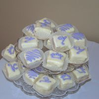 Sip And See Petit Fours WASC cake petit fours made for a Sip and See. Poured fondant icing.