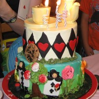 Topsy Turvy Alice In Wonderland Cake One of my first efforts using fondant accents, It was summer 2009 and the fondant was too soft in my un airconditioned house.