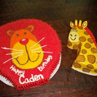 Animal Themed Cake   Big cake and the mini cake for the baby.