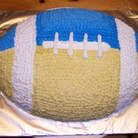 Blue Bomber Football Cake I made this for my son's football theme party. It is based on his favorite CFL team the Winnipeg Blue Bombers