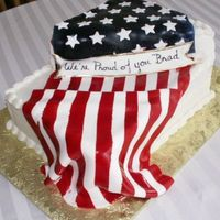"Bradflag Sheet cake plus with fondand flag and tag that say ""We're proud of you Brad"" for a young man leaving for boot camp. Flag..."