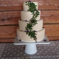 Montana Huckleberry Wedding Cake White Chocolate cake, vanilla BC, white chocolate butter vanilla fondant with Montana huckleberry filling. Wedding and reception took place...