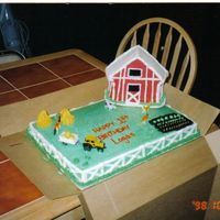 Down On The Farm This is a white cake iced in buttercream, with the Wilton house pan that I iced in buttercream to look like a barn. The haystacks are...