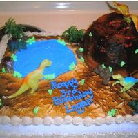 Dino Land This is a white sheetcake with a chocolate volcano. Buttercream iced and I used gel for the lake and lava. I also used plastic dino pieces...