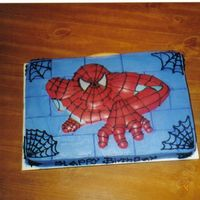 Spiderman Chocolate cake buttercream iced, then I attached a spiderman candy placque