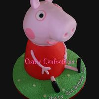 "3D Peppa Pig Cake Vanilla sponge cake filled with IMBC and raspberry jam, covered in sugarpaste (fondant). The body is an 8"" and a 7"" stacked and..."