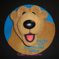 "Bear In The Big Blue House Bear from Bear in the Big Blue House. Carved from a 9"" round and half of a 6"" ball pan, covered in sugarpaste (fondant)"