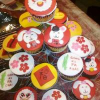 Chinese New Year Cupcakes   fondant toppers red velvet cupcakes. TFL