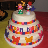 Dora Butterfly Cake   Butter cream with fondant accents