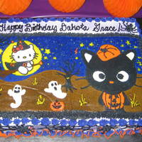 "Hello Kitty Birthday Halloween Cake My daughters birthday is close to Halloween so she wanted a Halloween themed birthday party with a ""black cat"" cake. This is what..."