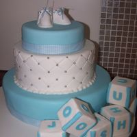 Boys Christening Made for a sweet little boy named Joshua. This cake was 3 different flavours and covered with fondant . Topped with booties (template taken...