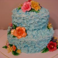 Tropical Hibiscus Bridal Shower Cake