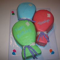 Balloons 3 - 10 in. round cakes shaped like balloons. Colors to match birthday party supplies.