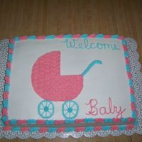 Baby Carriage On Sheet Cake 11x15 double layer yellow cake. Fillings were strawberry and chocolate. Vanilla icing. Pastel pink and blue decorations.