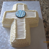 Baptism Cake I used a swiss buttercream in ivory.