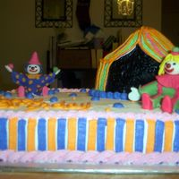 Clowns And Big Top Clowns are made of fondant, rest is buttercream, bigtop is carved.