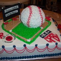 League Of Their Own Baseball Cake Buttercream, fondant (score board and uniform patches), Ball pan, brown sugar for the baseline.