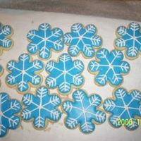 Snowflake Cookies These are for the kids teachers at school. Just NFSC and Royal Icing. Didnt have any meringue powder so used grama's old recipe using...