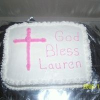 Baptism Cake   Just a simple cake. Thanks for the ideas for cross!!! Worked out GREAT and was VERY easy!!