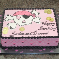 Pink Pirate Birthday Cake gold coin are plastic
