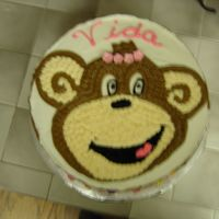 No Monkey Business chocolate cream cheese icing. done for an elderly woman for her 88th b-day. she has a wonderful sense of humor