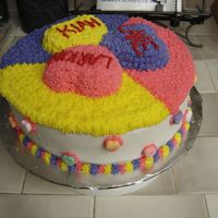 Three Hearts   three heart cakes atop 10 inch round cake. all buttercream. for Valentine's Day