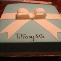 Tiffany Jewelry Box made for a girl who loves Tiffany jewelry. all fondant