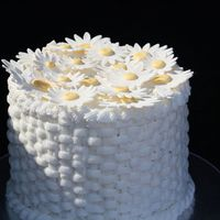 Easter Cake   buttercream Basket weave with gumpaste daisies. Easter Cake