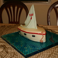 Cumpleanos De Velero (Sailboat Cake) I made this cake for my Dad's 59th birthday. It's made with pound cake, buttercream icing and MM Fondant. The water is glucose.