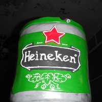 Heineken Keg Made this cake for my brother-in-law. It's a Heineken mini keg.