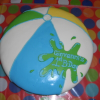 Beach Ball I made this caka for my son's 1st Birthday. It was a pool party.