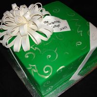 "Present Cake One of two cakes for a craft business that is only open 2 weeks a year for the holiday season. 10"" square cake Bow is about 8"" in..."