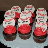 "Baseball Cupcakes I made these for my nephew's ""end of t-ball season"" party! Chocolate cupcakes with BC icing and gumpaste baseballs. Go Red..."
