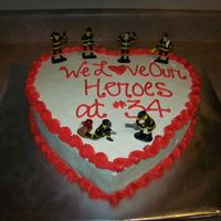 Our Hero I made this cake to take to my husbands fire station as a surprise on Valentines Day. Chocolate cake with cookies n' cream filling,...