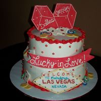 "Lucky In Love Bridal shower cake for a couple getting married in Vegas. 8"" & 10"" white cakes filled with strawberry mousse, iced in BC...."