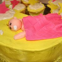 Closeup Of Sleeping Baby all free formed from fondant.