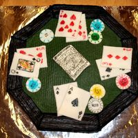 Poker Table My uncle loves Texas Hold 'Em, so I made this cake for his 67th bday. White cake, BC frosting, MMF cards & poker chips, all...