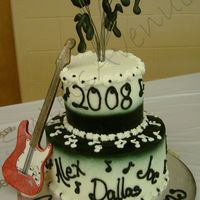 Musical Graduation Cake  Three friends all in a band graduated the same time. Music notes on stainless steel wires are royal icing. Guitar is gumpaste and is...