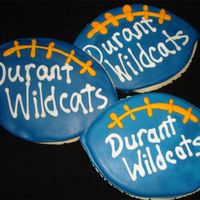 "Football Cookies  I received an order for 6 dz of these 4"" cookies for homecoming week in the school colors. I didn't have enough time to order a..."