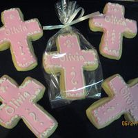 Pink Cross Cookies NFSC with Anotonia's RI. I made these for my friend's daughter's baptism.